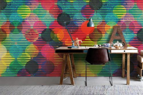 Papier peint géométrique boules multicolores