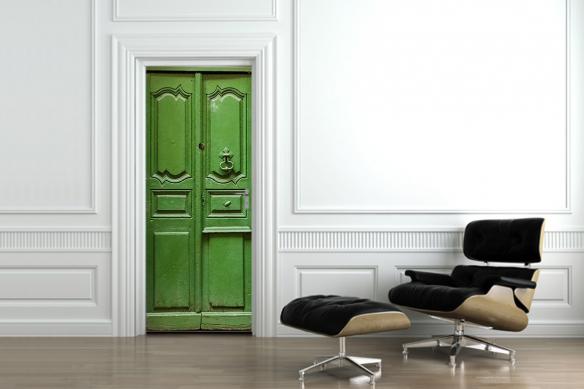 Trompe l'œil vieille porte verte