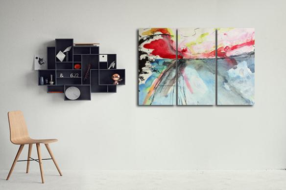 décoration murale salon moderne triptyque