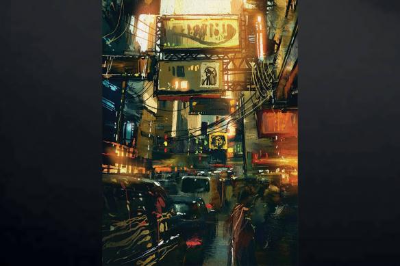 tableau sur toile effet peinture trafic urbain