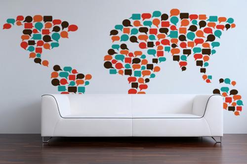Papier peint mappemonde Communication
