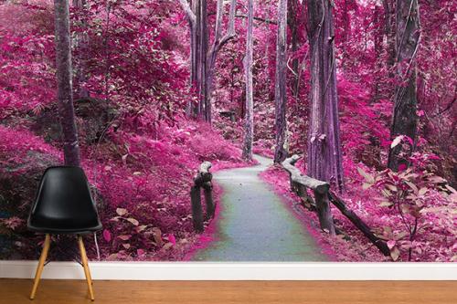 Papier peint trompe l'œil Forêt rose