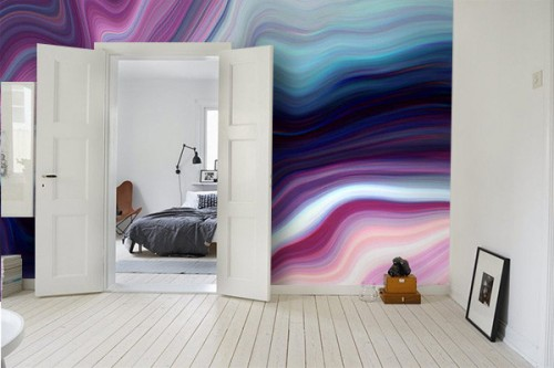 Papier peint trompe l'œil effet marbre violet