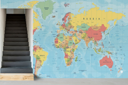 Papier peint carte du monde planisphère