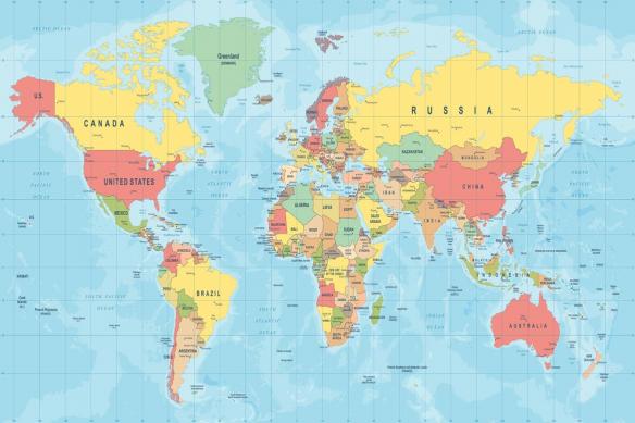 papier peint mappemonde planisphère