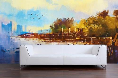 Tapisserie murale paysage effet peinture