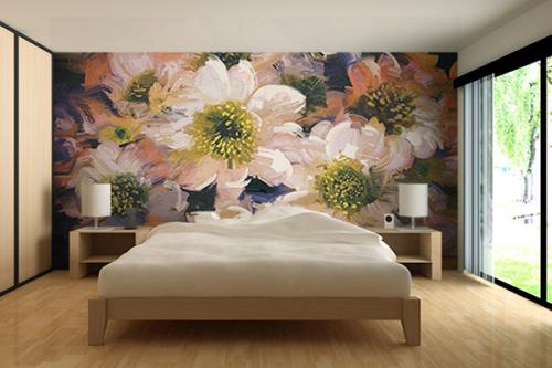 Papier peint style anglais grosses fleurs blanches
