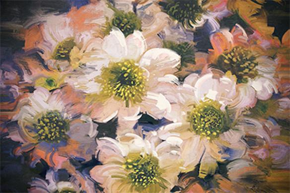 papier peint anglais grosses fleurs blanches