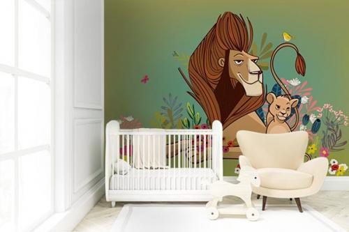 Papier peint pour chambre enfant Lion et lionceau