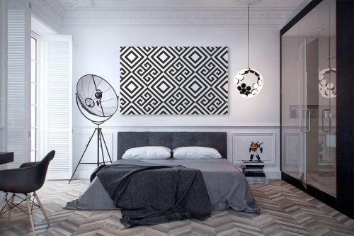 tableau géométrique noir et blanc invictus