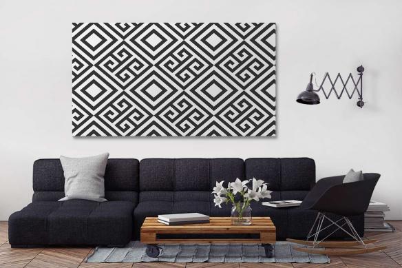 décoration salon moderne noir et blanc tableau izoa invictus