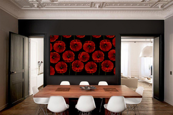 décoration rouge et noir tableau coquelicot