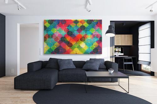 Tableau géométrique Boules multicolores