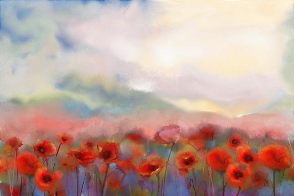 toile murale coquelicots champs fleuri