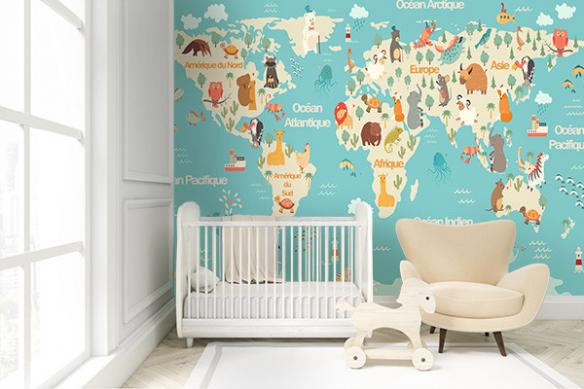 Papier peint carte du monde Animaux chambre enfant