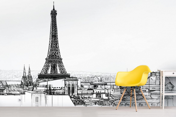 Papier peint Paris Tour Eiffel noir et blanc