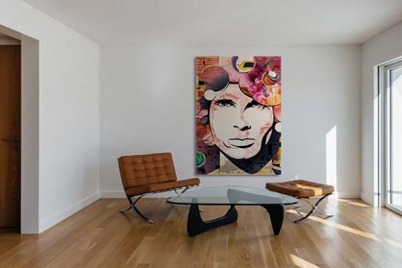 Tableau toile Jim Morrison motif coloré