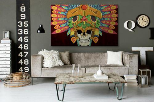 Cadre tête de mort Aztèque