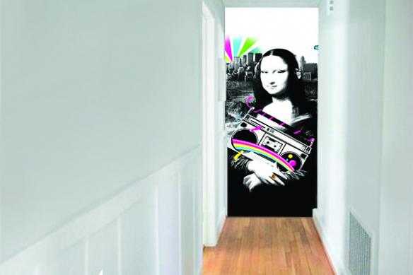 décoration couloir lé de papier peint mona lisa