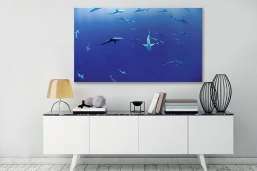 Tableau bleu Danse des requins