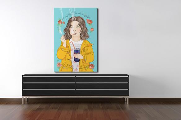 toile art illustration fillette rebelle
