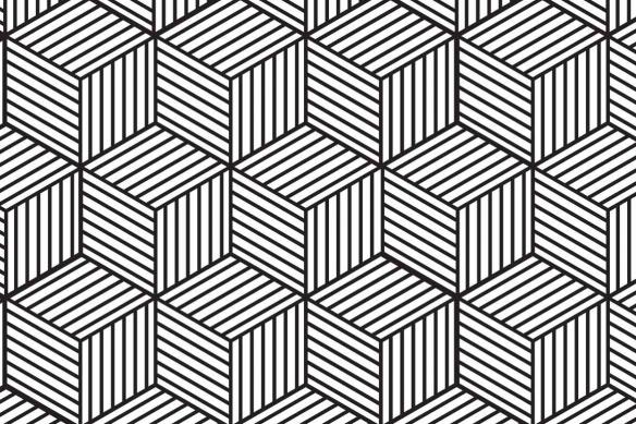 tableau géométrique cubes 3d noir et blanc
