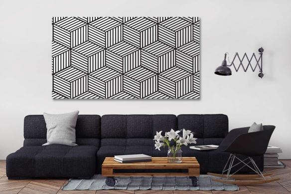 déco salon moderne toile cubes 3d noir et blanc
