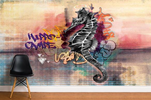 déco street art chambre ado hippocampe