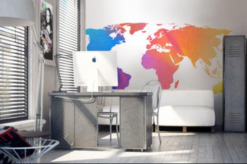 décoration bureau papier peint carte du monde colorée