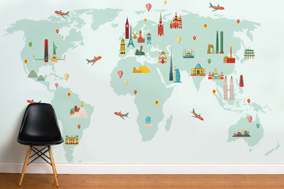 Poster carte du monde Love Travel