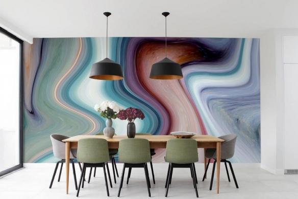 decoration salle a manger papier peint izoa