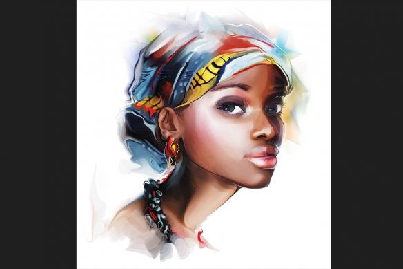cadre-africain-femme-ruban-sur-la-tete