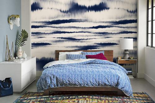 décoration chambre bleue papier peint mystic