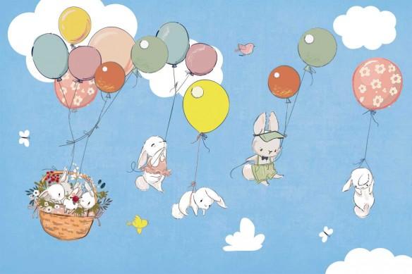 tapisserie enfant famille lapins bleu ciel