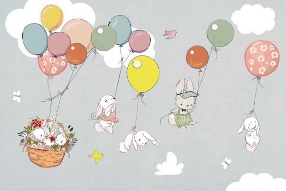 décoration crèche papier peint sur mesure lapins gris