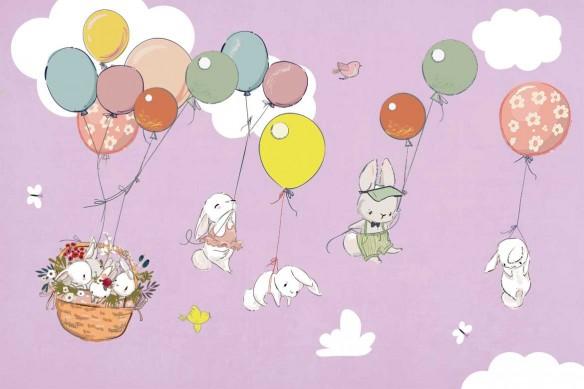 papier peint pour chambre enfant lapins rose