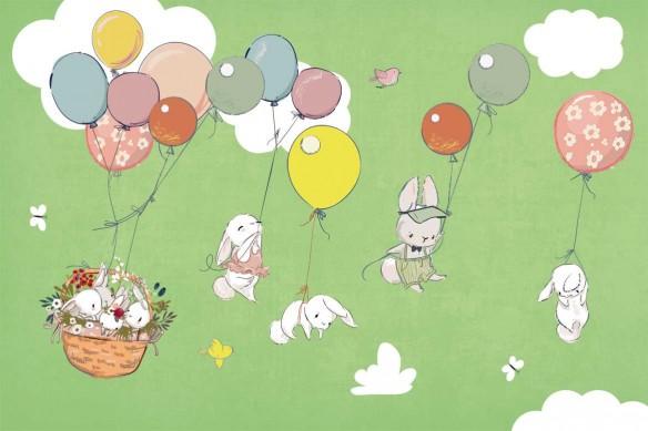 décoration chambre enfant papier peint lapins vert