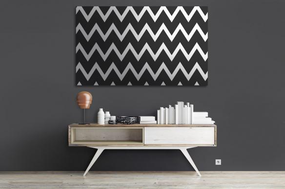 Tableau sur toile Zigzag noir et blanc