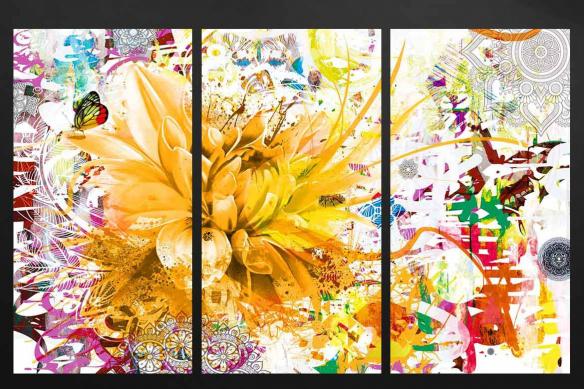 tableau triptyque divine folie jaune