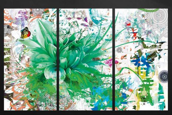 triptyque tableau divine folie vert