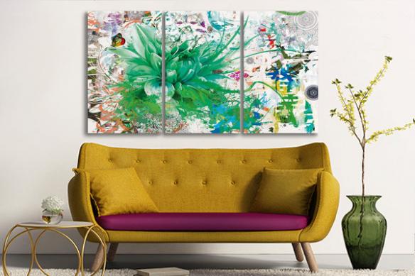 triptyque design divine folie vert