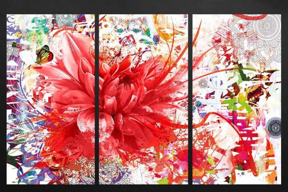 cadre triptyque divine folie rouge
