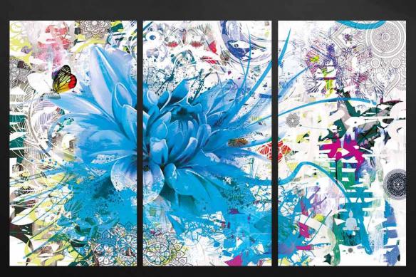 tableau multi panneaux divine folie bleu