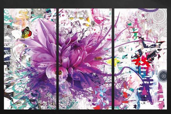 cadre triptyque divine folie violet