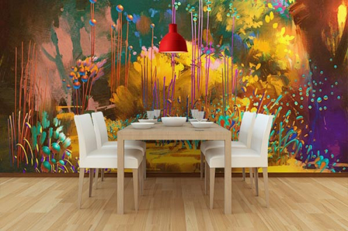 papier peint foret imaginaire déco salle a manger