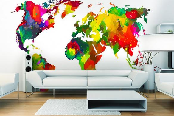 Papier peint mappemonde Le monde en couleurs