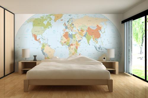 papier peint chambre planisphère