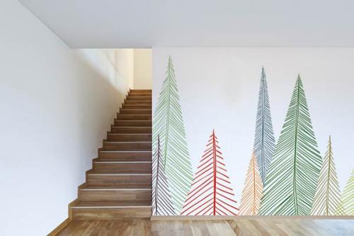 Papier peint arbre scandinave Sapins