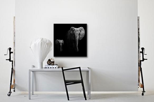 Tableau éléphant et éléphanteau noir et blanc