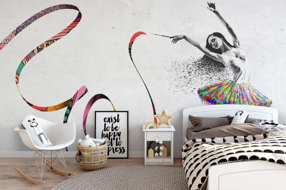 décoration murale chambre fille papier peint danseuse